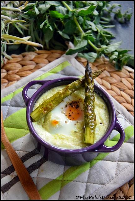 oeufs cocotte asperge 2C Oeuf cocotte aux asperges vertes et mozzarella
