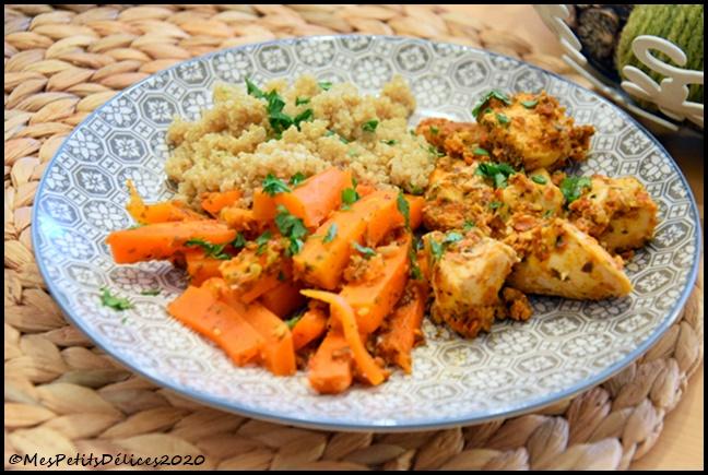 poulet carotte pesto tomate 2C Poulet et carottes au pesto de tomates
