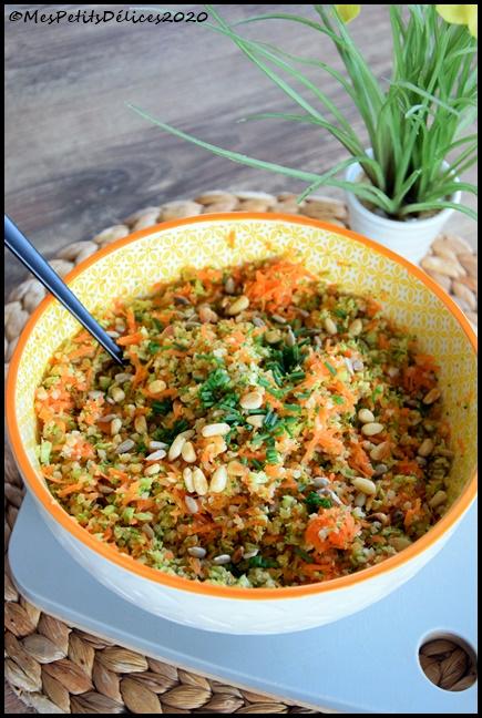 salade boulgour carotte brocoli sauce asiatique 3C Salade de brocoli, carotte et boulgour sauce asiatique