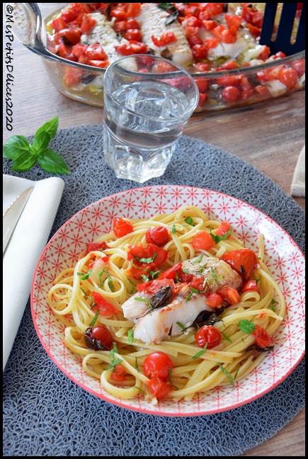 cabillaud tomates basilic 2C Filets de cabillaud aux tomates et basilic