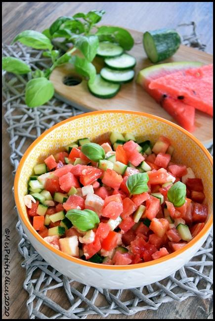 salade fraîcheur à la pastèque 1C Salade fraîcheur à la pastèque