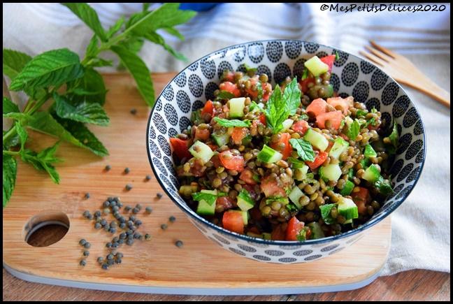 salade lentilles menthe 3C Salade façon taboulé aux lentilles vertes