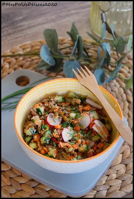 salade lentilles quinoa radis concombre carotte 1C Salade complète lentilles, quinoa & légumes