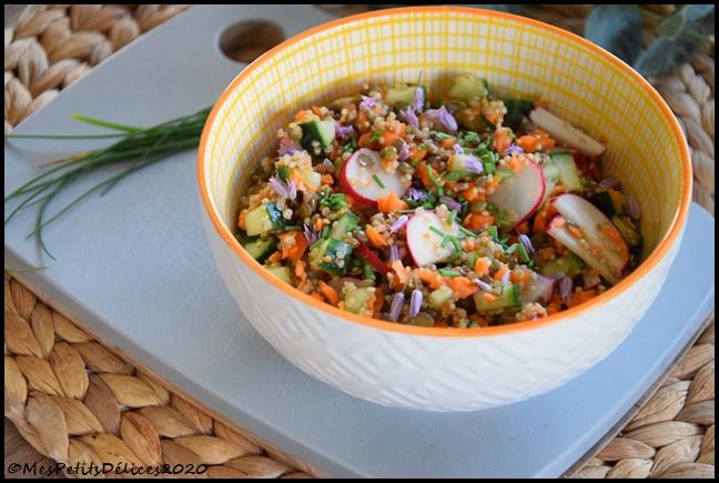 salade lentilles quinoa radis concombre carotte 2C Salade complète lentilles, quinoa & légumes