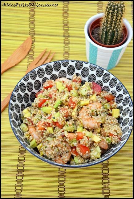 salade quinoa crevettes 1C Salade complète : Quinoa, crevettes, avocat
