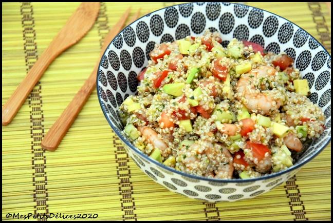 salade quinoa crevettes 2C Salade complète : Quinoa, crevettes, avocat
