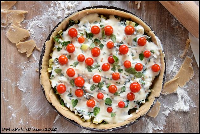 tarte légumes ricotta 2C Tarte du jardin : blettes, courgette & tomates cerises