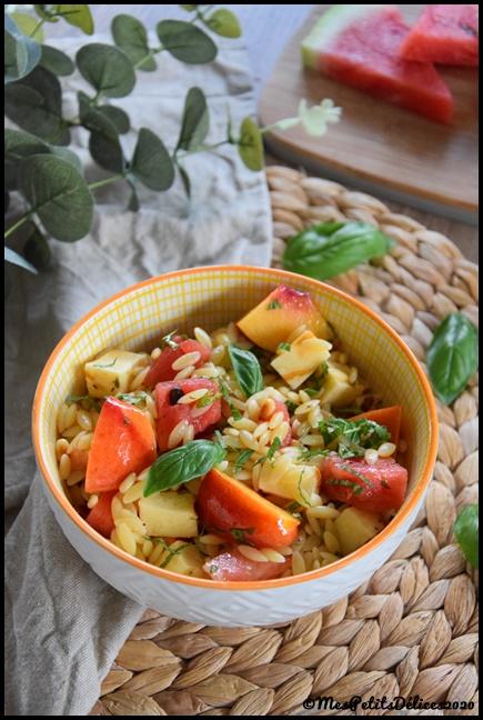 salade pâtes pastèque nectarine 1C Salade de risetti, nectarine & pastèque