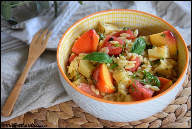 salade pâtes pastèque nectarine 2C Salade de risetti, nectarine & pastèque