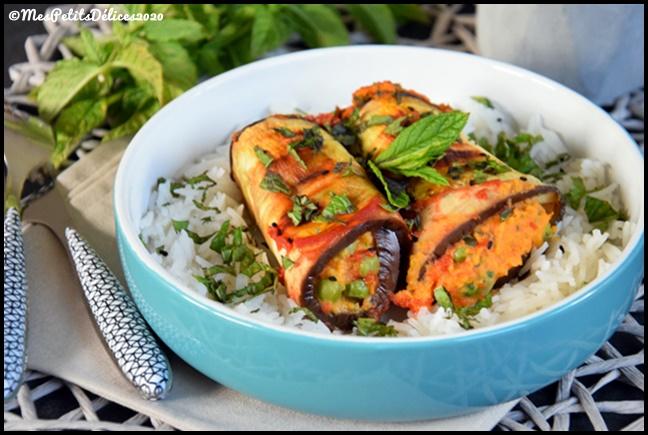 aubergines roulées patate douce 2C Roulés daubergine farcis à la patate douce