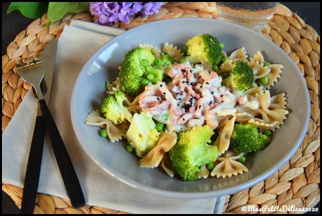 farfalles bacon légumes verts 2C Farfalles au bacon et légumes verts