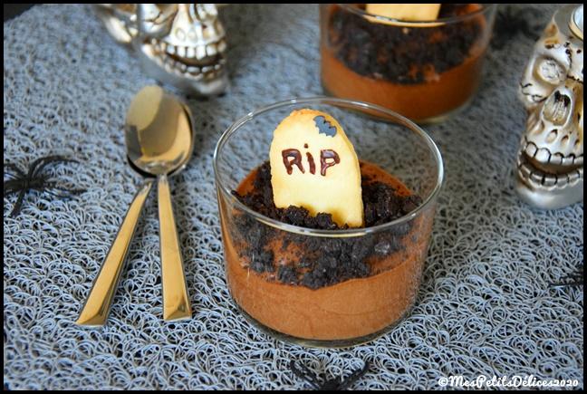 mousse choco cimetière halloween 1C {Halloween} Cimetière chocolaté