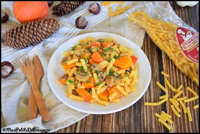 macaronis courts potimarron champignons 1C {Découverte} Les pâtes artisanales Thirion