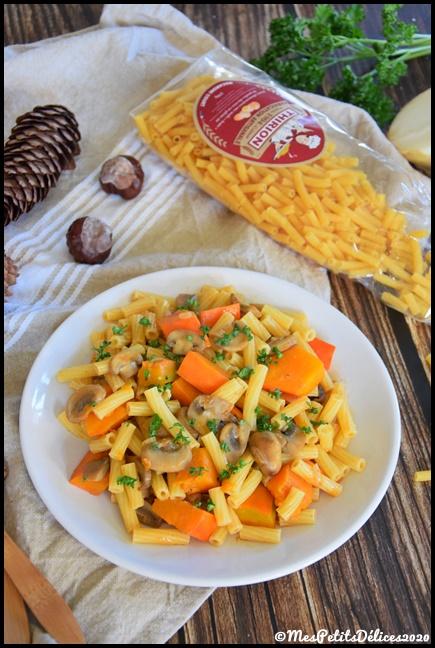 macaronis courts potimarron champignons 3C {Découverte} Les pâtes artisanales Thirion