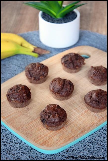 minis muffins façon banana bread choco 1C Minis muffins façon banana bread au chocolat
