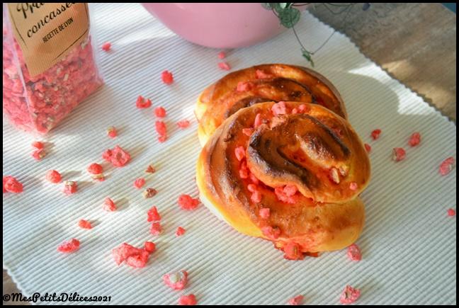 escargots pralines roses 3C Escargots briochés aux pralines roses