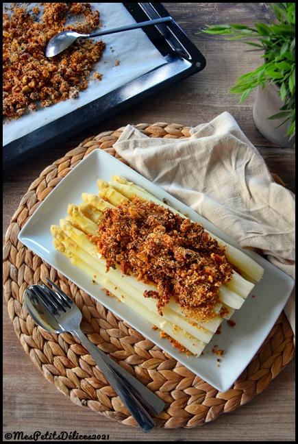 asperges crumble tomate séchée 1C Asperges blanches et crumble aux tomates séchées